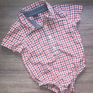 Baby Gap plaid bodysuit red and blue
